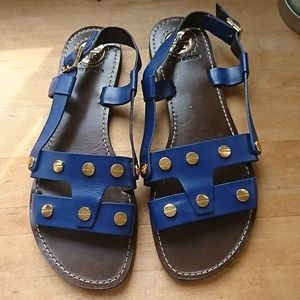 Tory Burch Sandal Navy Gold Stud